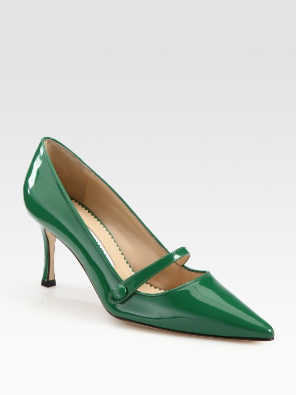 Lyst - Manolo Blahnik Patent Leather Point Toe Mary Jane