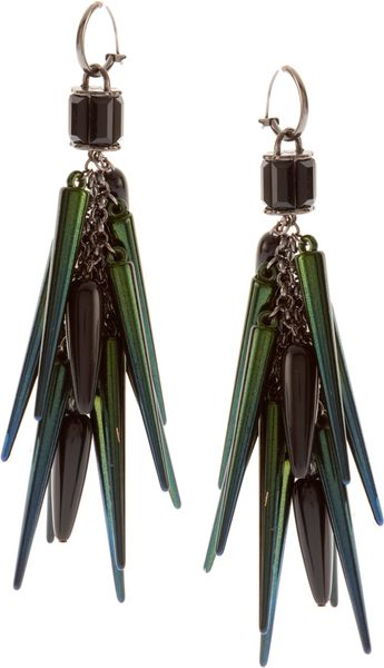 Asos Collection Asos Spike and Beetle Shell Drop Earrings in Blue