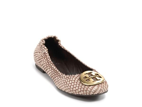 Tory Burch Reva Ballet Flats In Animal Snake Print Black