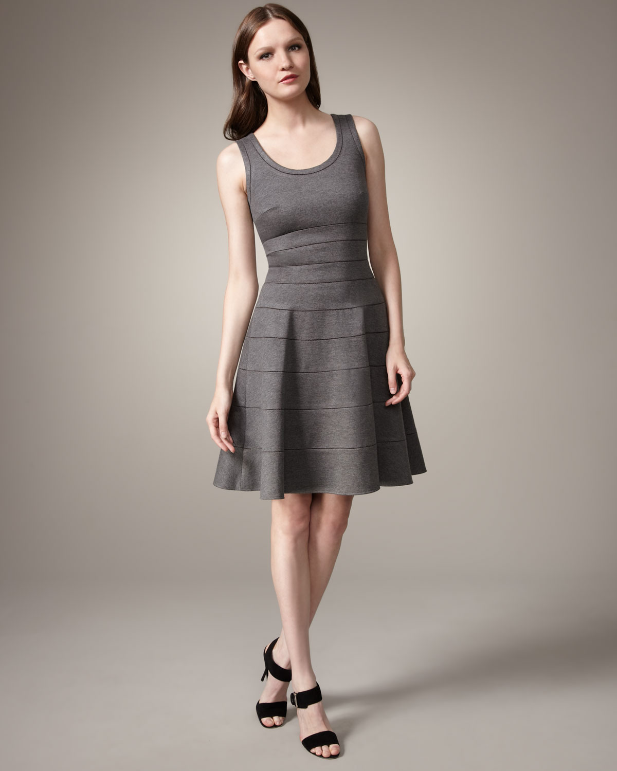 Lyst  Issa Fitandflare Dress in Gray