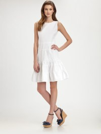 Lyst - Red Valentino Sleeveless Cotton Dress in White