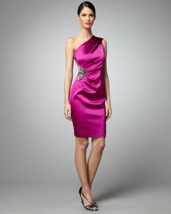 Lyst - David Meister -shoulder Side-detail Dress In Purple