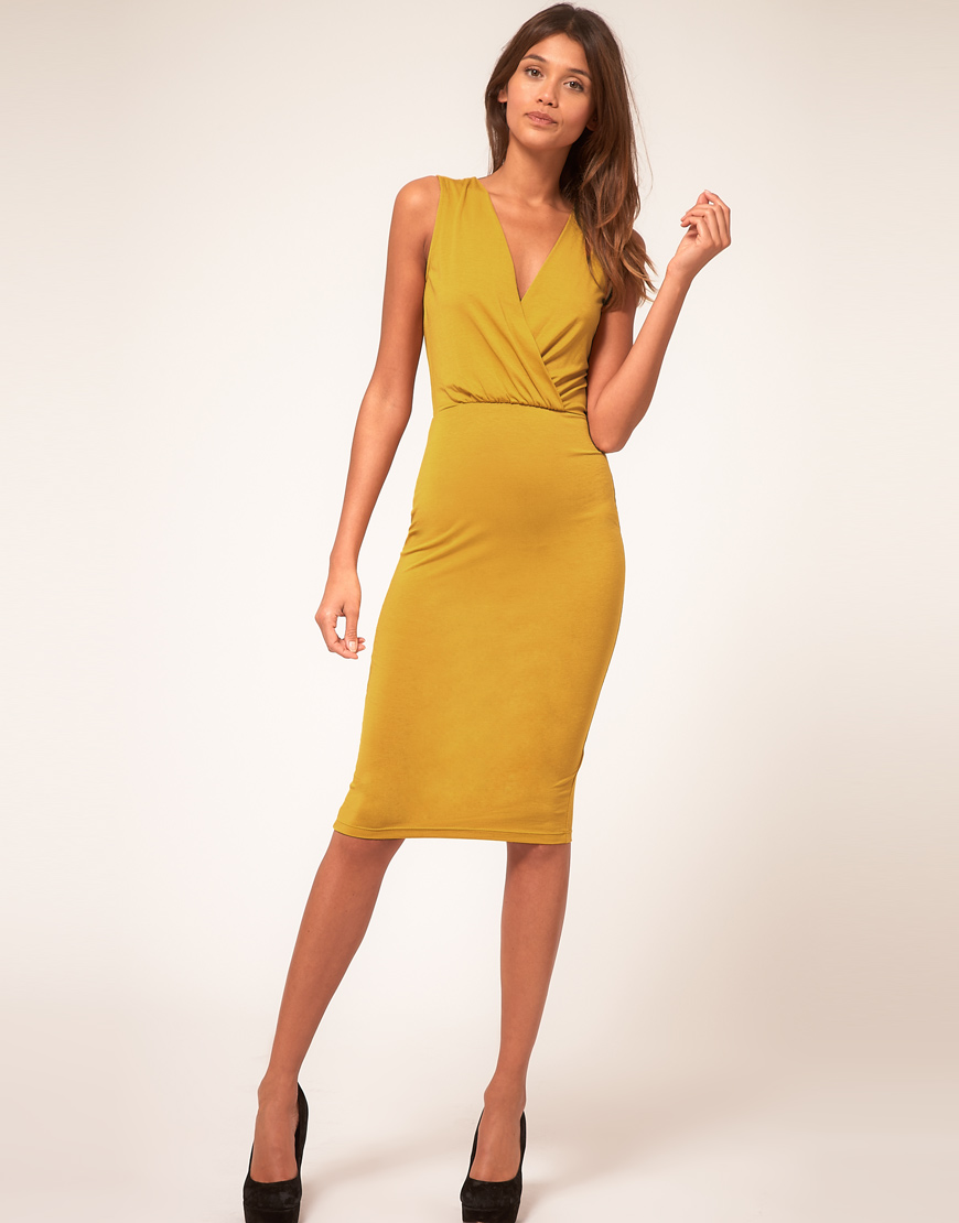 Asos Collection Asos Pencil Dress With Wrap Front In