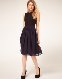 Lyst - Asos Collection Asos Petite Midi Dress with Chiffon ...