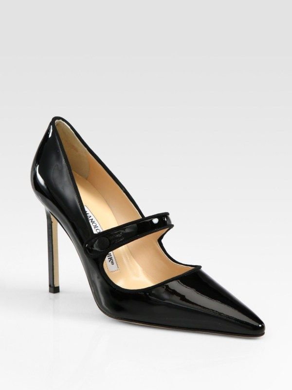 Lyst - Manolo Blahnik Patent Leather Mary Jane Point Toe