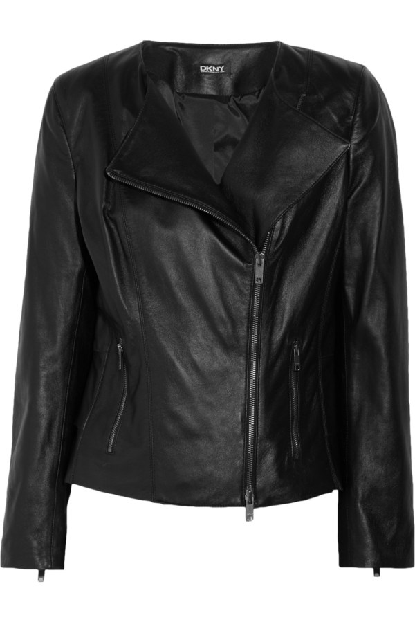 Dkny Pleated-panel Leather Jacket In Black Lyst