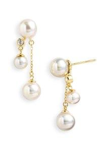 Majorica Double Drop Pearl Earrings in White (gold) | Lyst