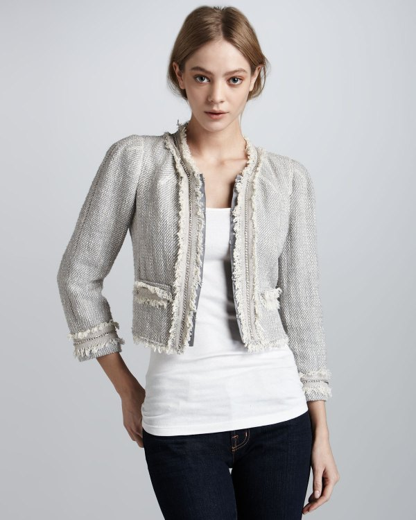 Rebecca Taylor Cropped Tweed Jacket In Gray - Lyst