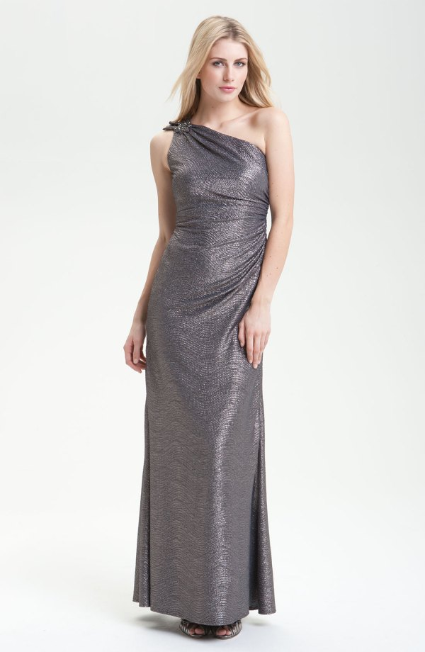 David Meister Shoulder Metallic Gown In Gray Gunmetal