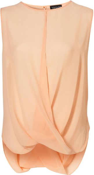 Topshop Sleeveless Drape Front Blouse in Orange (peach)