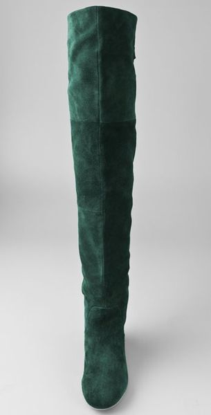 Jeffrey Campbell Lubbock Suede Over The Knee Boots in Green  Lyst