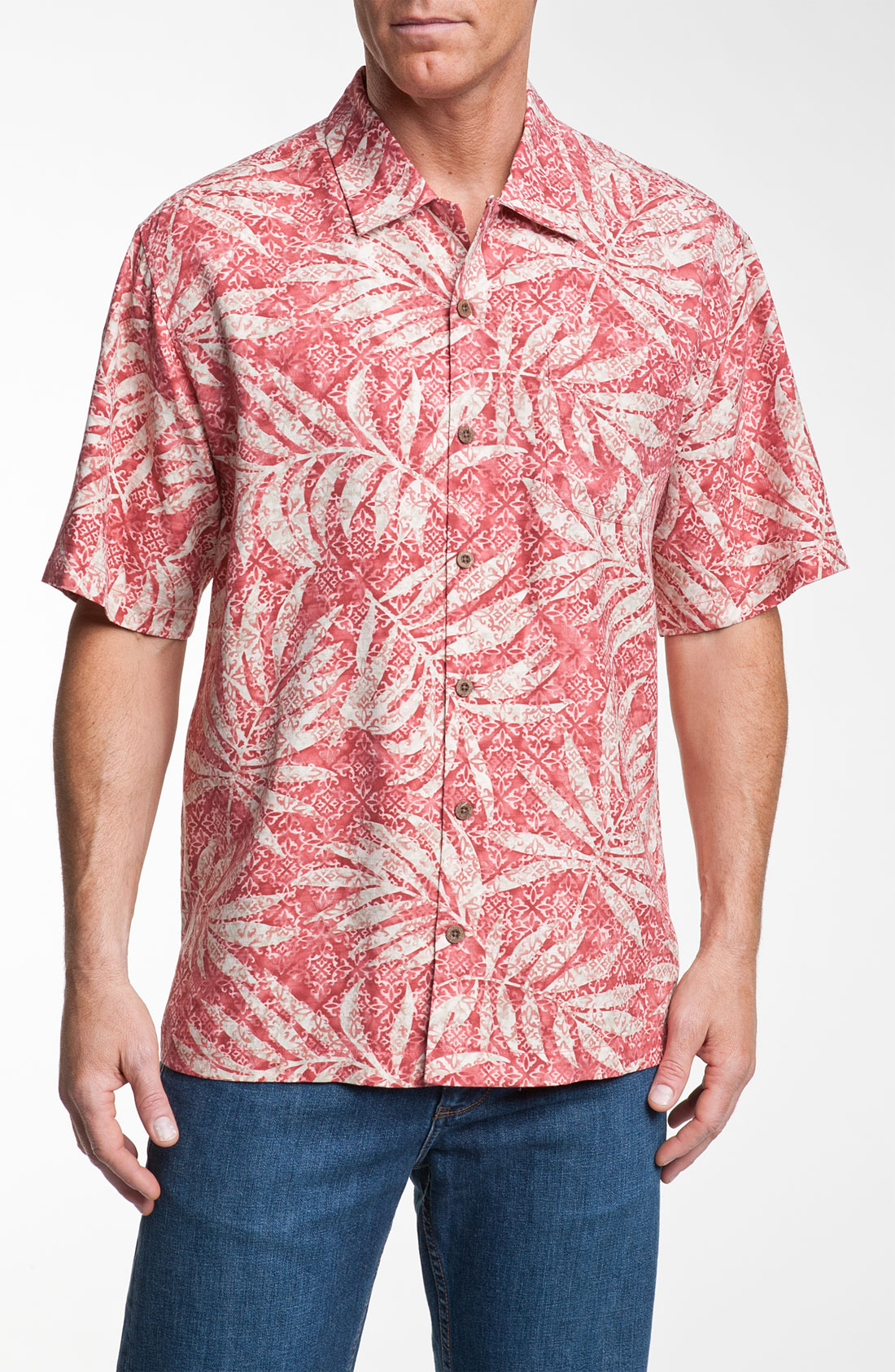 Tommy Bahama Palm City Silk Camp Shirt in Red for Men
