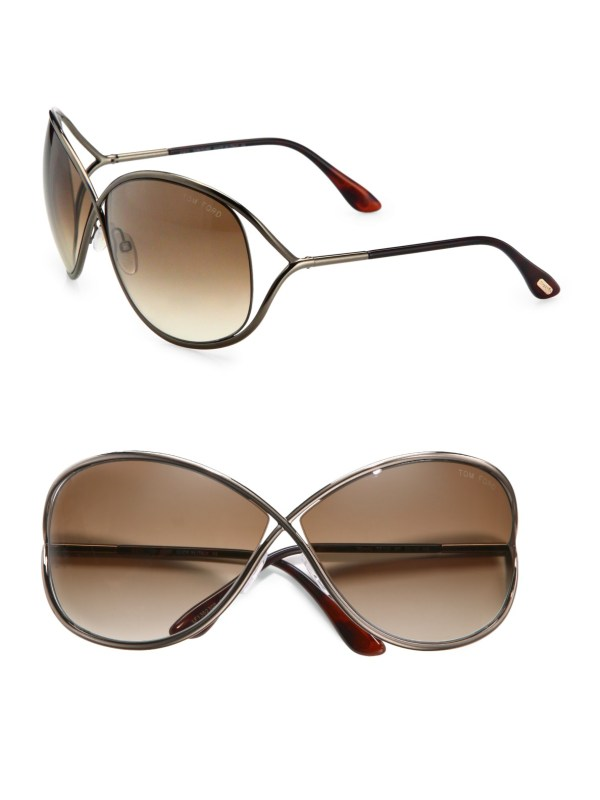 Tom Ford Metal Crossover Butterfly Sunglasses In Gold