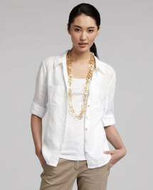 Lyst - Eileen Fisher Linen Blouse In White