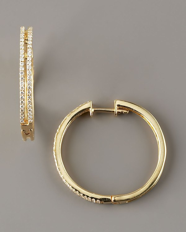 Kc Design Diamond Hoop Earrings 14k Yellow Gold In