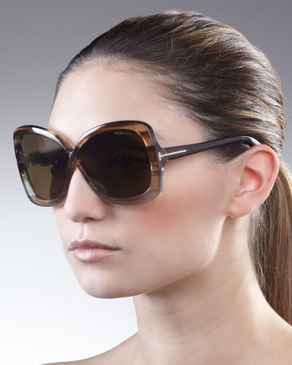 Tom Ford Calgary Butterfly Sunglasses Striped In Black