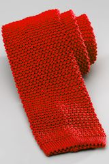 Charvet Knit Silk Tie Red