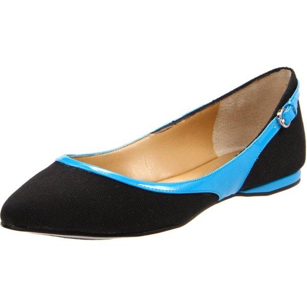Nine West Womens Superfly Flat In Blue Black