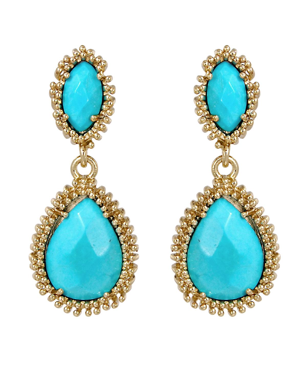Kendra Scott Turquoise Twostone Drop Earrings in Blue