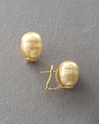 Majorica Champagne Pearl Earrings Post Backs in Gold (null