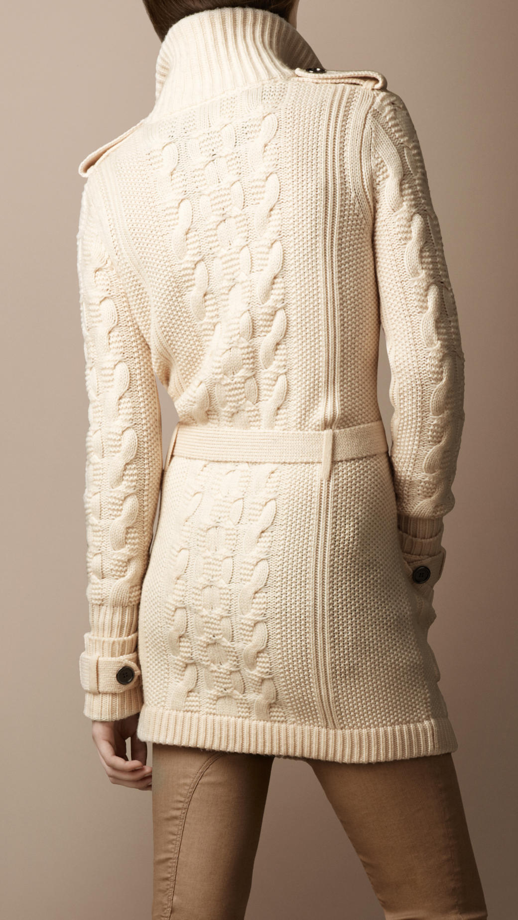 Lyst  Burberry Brit Wool Cashmere Cable Knit Cardigan in Natural