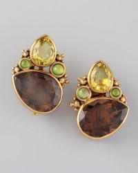 Stephen Dweck Quartz Cluster Clip Earrings in Brown (multi