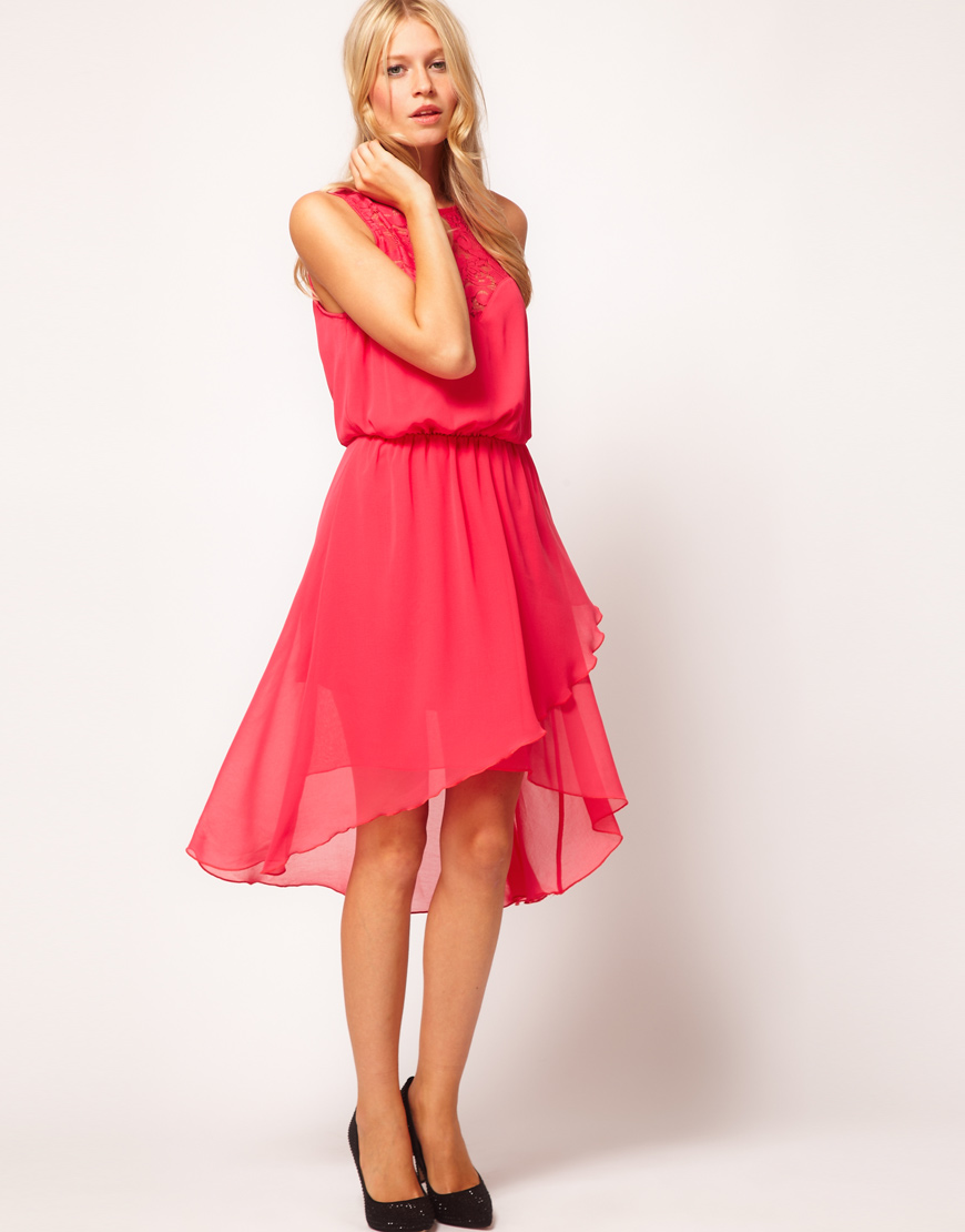 Asos Collection Asos Lace Top Dress with High Low Hem in Pink  Lyst