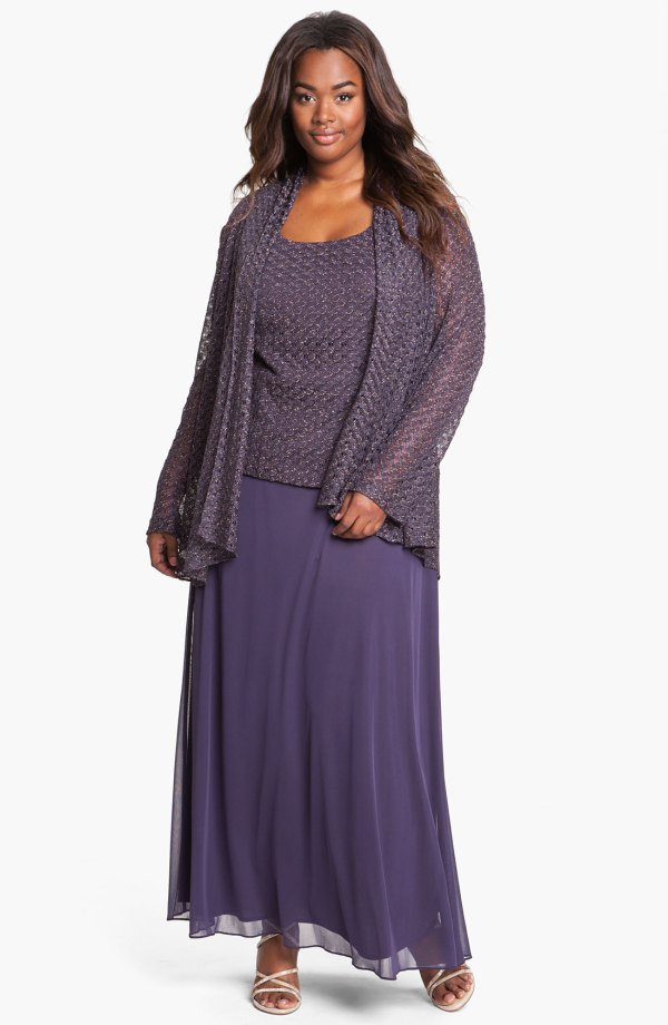 Patra Crochet Cascade Dress With Jacket In Purple Eggplant Lyst