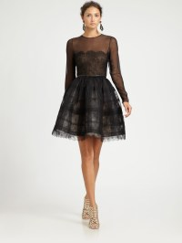 Oscar de la renta Sheer Lace Cocktail Dress in Black   Lyst