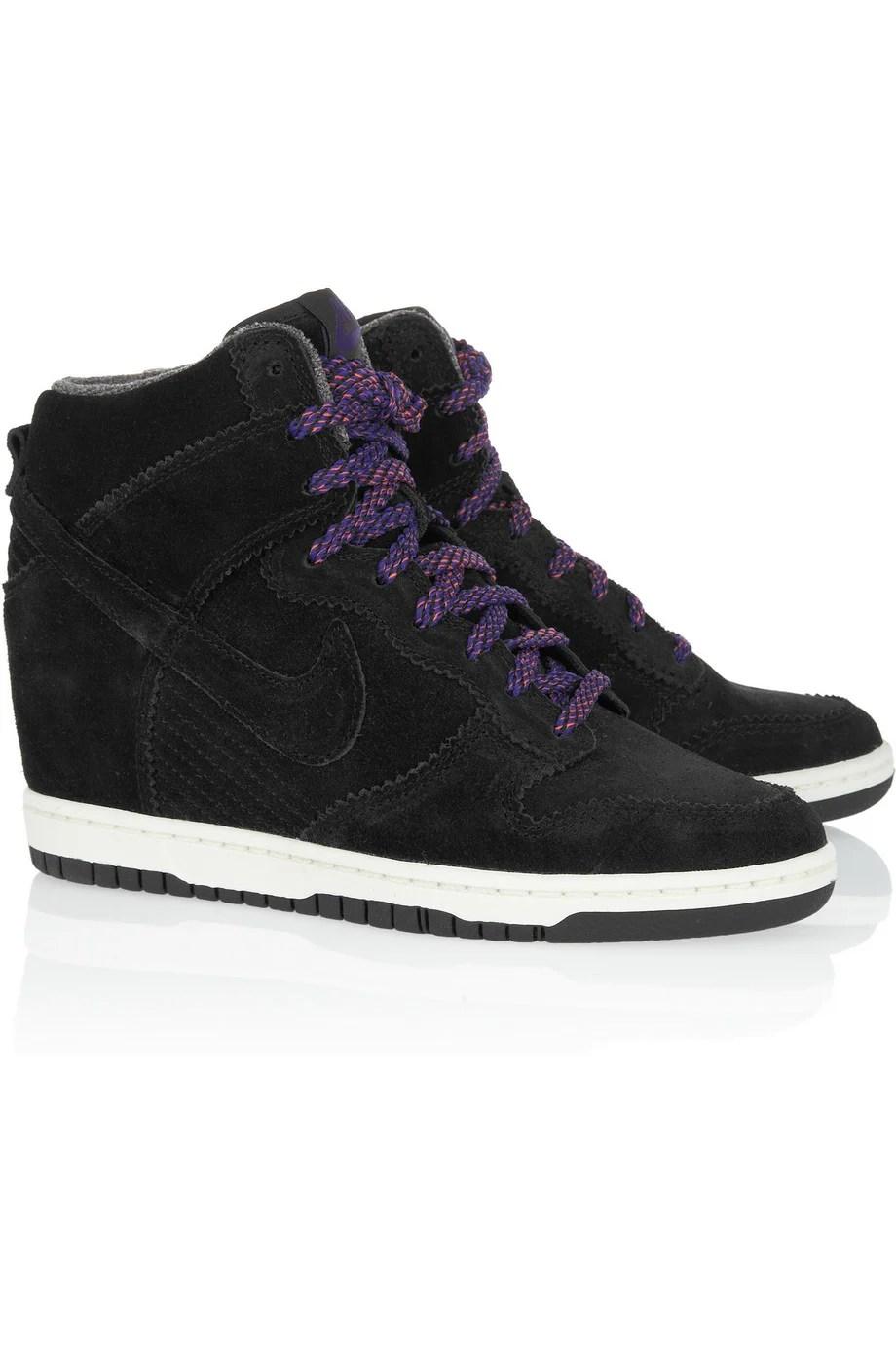 Lyst  Nike Dunk Sky Hi Suede Wedge Sneakers in Black