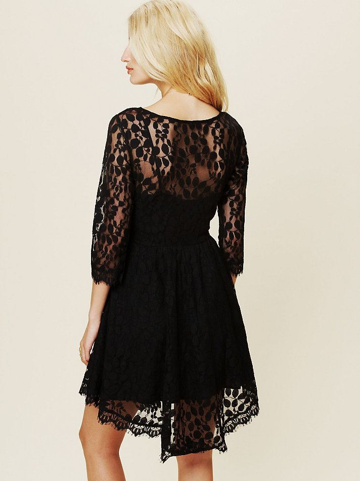 Lyst Free People Floral Mesh Lace Dress In Black
