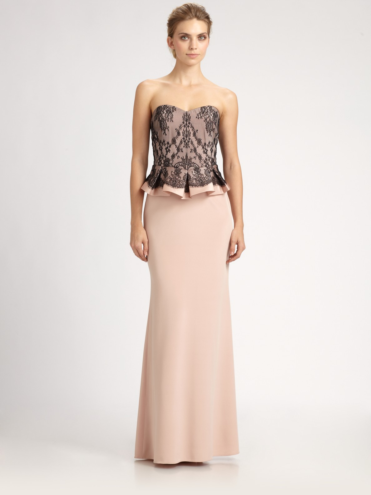 8f063d616b Notte By Marchesa Strapless Lace Gown With Peplum In Pink ...