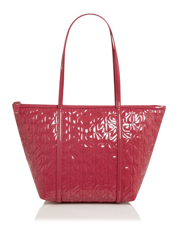 Dkny Quilted Logo Medium Tote Bag In Red Pink Lyst