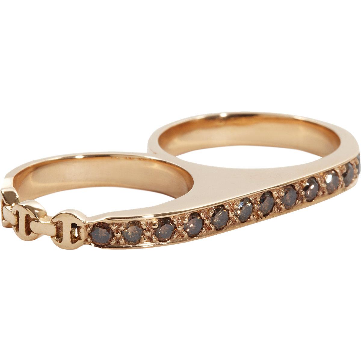 Hoorsenbuhs Cognac Diamond Rose Gold Double Knuckle Ring