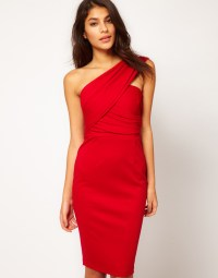 Lyst - Asos One Shoulder Pencil Dress in Red