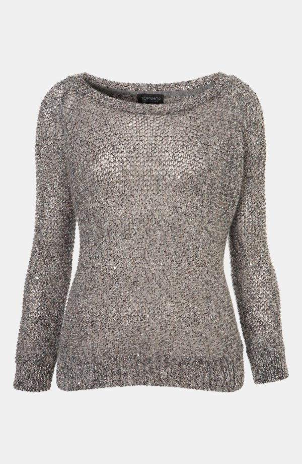 Topshop Sparkle Fuzzy Knit Sweater In Gray Grey Lyst