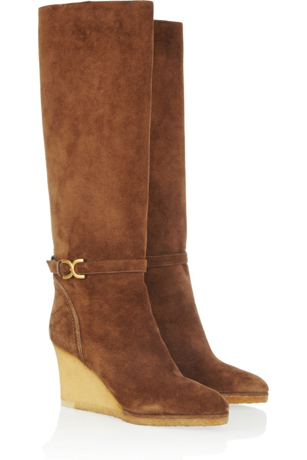 Lyst - Chlo Suede Wedge Knee Boots In Brown