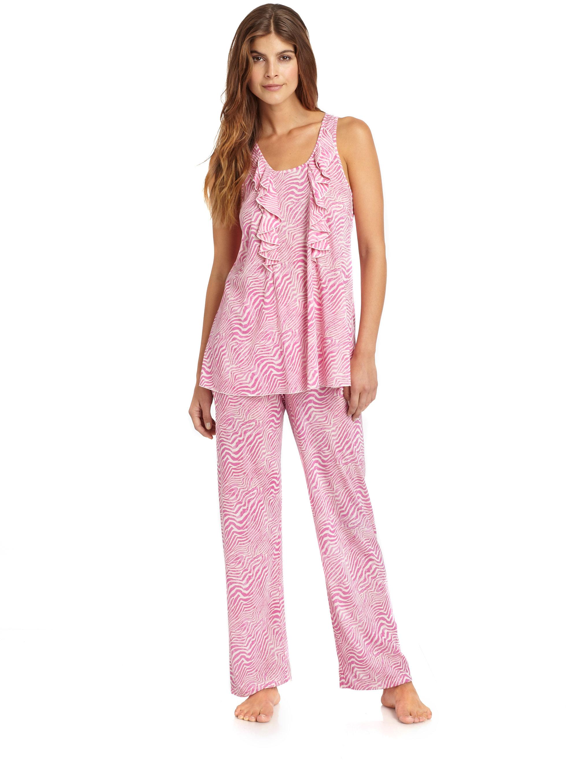 Lyst  Oscar de la Renta Sweet Safari Pajama Set in Pink