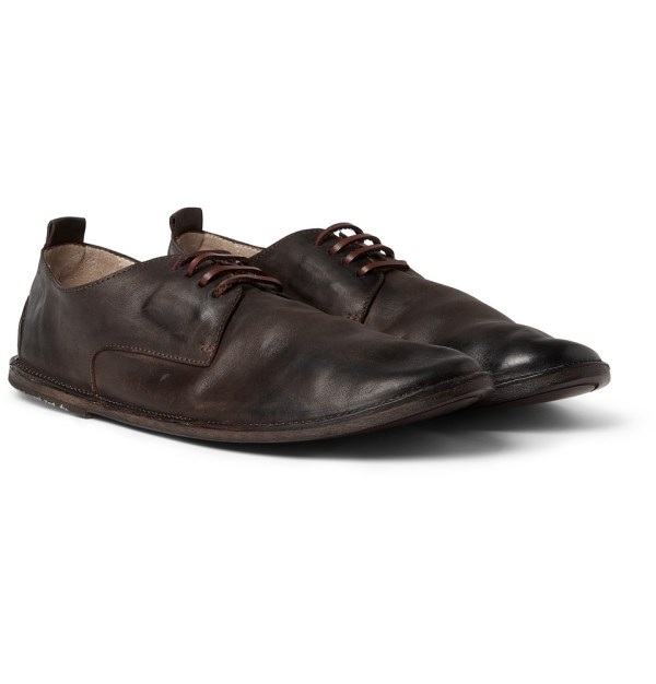 Marsell Burnished Leather Derby Shoes In Brown Men Lyst