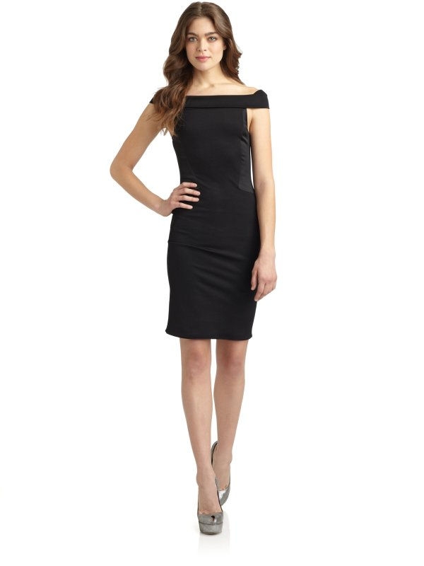 Lyst - Halston Shoulder Cocktail Dress In Black