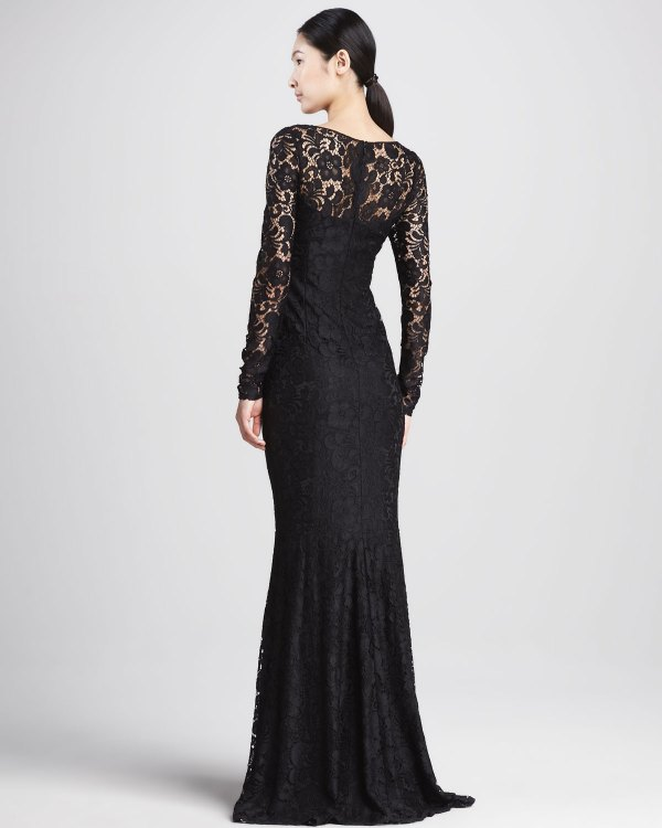Lyst - David Meister Lace Long-sleeve Illusion Gown In Black