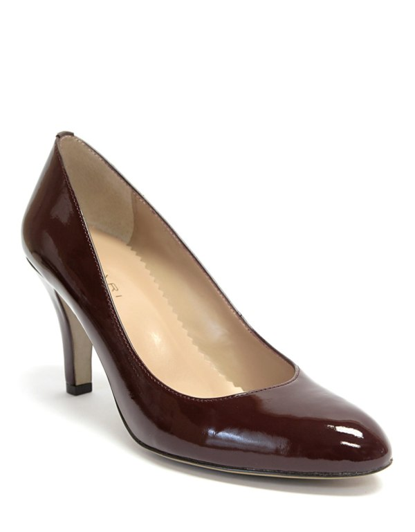 Tahari Westerly Patent Leather Pumps In Brown Burgundy