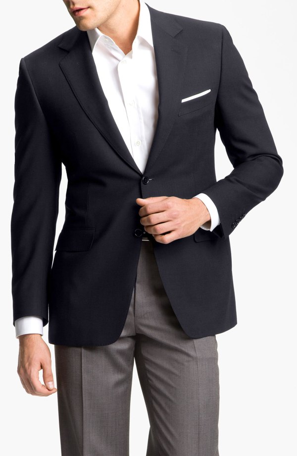Canali Solid Wool Blazer In Blue Men End Of Color
