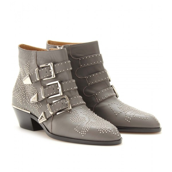 Chlo Studded Leather Buckle Ankle Boots In Gray Slate