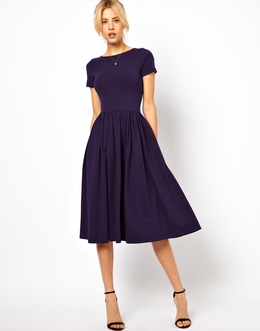 Lyst  Asos Midi Dress with Short Sleeves in Blue