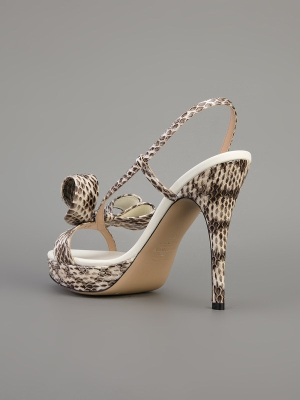 Valentino Bow Sling Sandal In White - Lyst