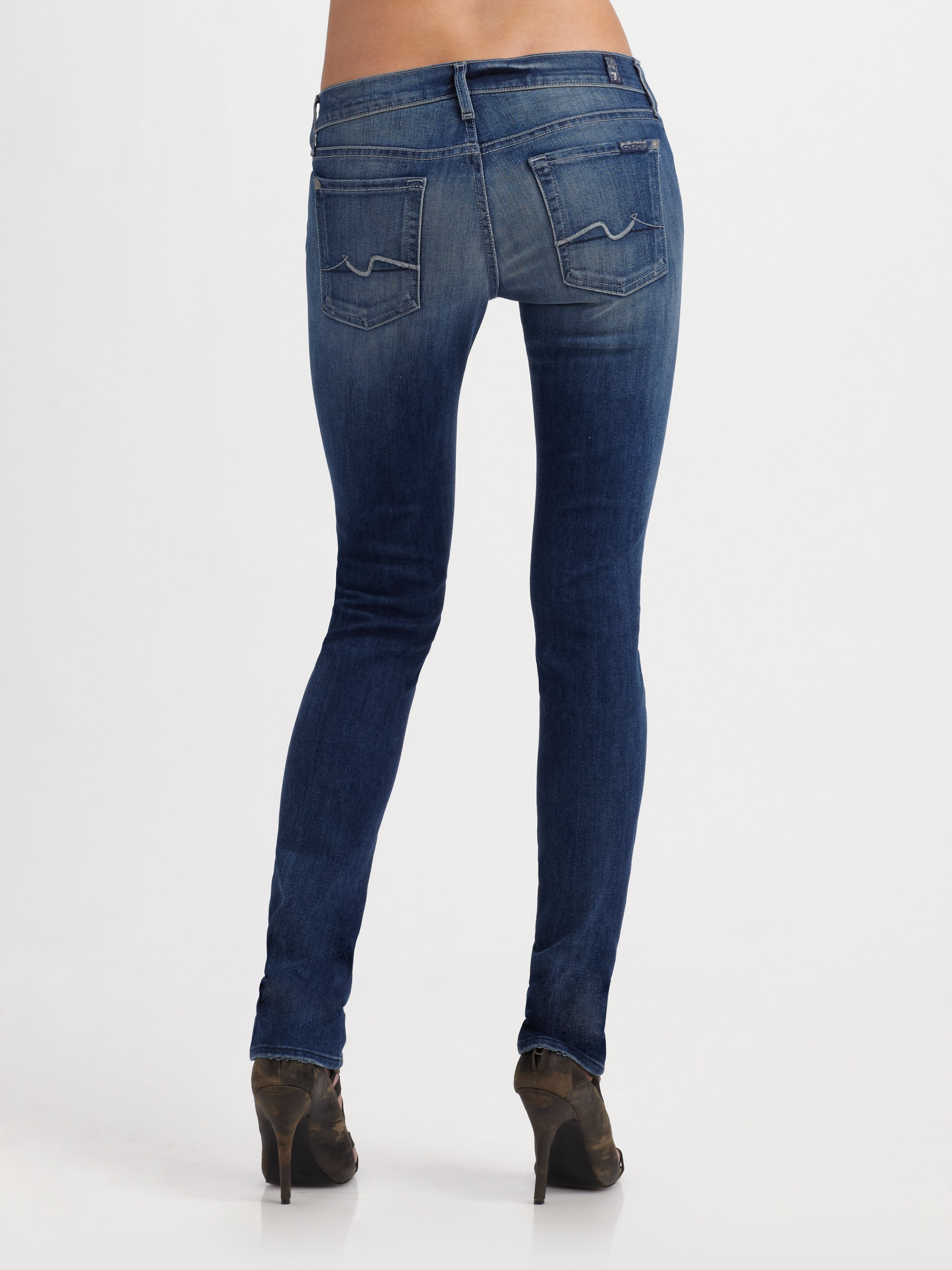 Lyst  7 For All Mankind Roxanne Skinny Jeans in Blue