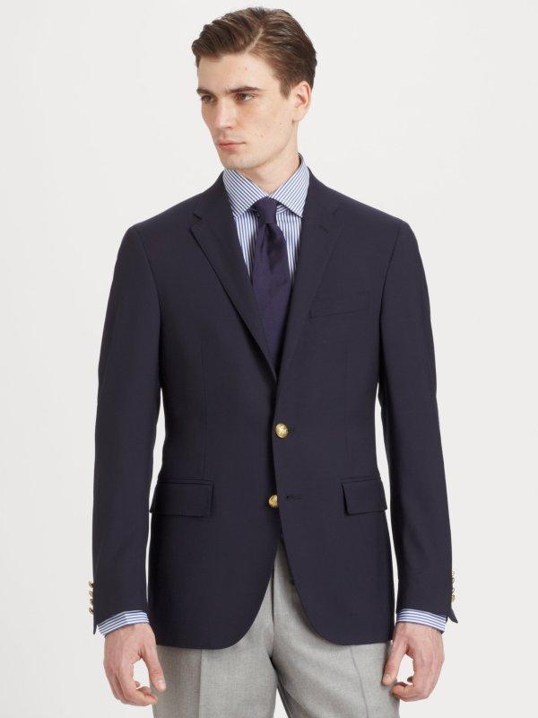 Polo Ralph Lauren Customfit Wool Blazer In Blue Men - Lyst