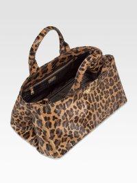 Lyst - Prada Leopardprint Haircalf Tote Bag