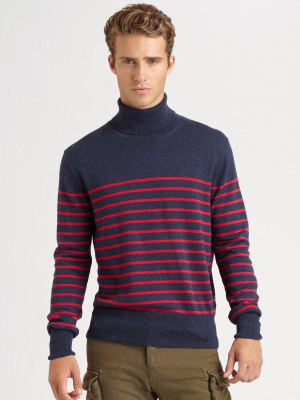 Lyst - Gant Striped Turtleneck Sweater In Blue Men